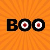 Testo nero di parola FISCHIO con l'occhi rossi Bulbi oculari diabolici Halloween felice Cartolina d'auguri Progettazione piana Sp Fotografia Stock Libera da Diritti