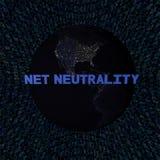 Testo netto di neutralità con terra di notte e l'illustrazione blu di codice della sfortuna Fotografia Stock Libera da Diritti