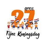 Testo olandese: Il Day di re felice, il 27 aprile iscrizione Vettore elemento per le alette di filatoio, l'insegna ed i manifesti illustrazione di stock