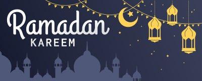 Testo orizzontale dell'insegna di vettore di Ramadan Kareem nella sinistra Immagini Stock Libere da Diritti