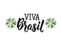 testo in portoghese: Viva Brazil Illustrazione di vettore Insegna di concetto di progetto, carta illustrazione di stock