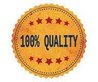 Testo 100%-QUALITY, sul bollo giallo d'annata dell'autoadesivo Fotografie Stock Libere da Diritti