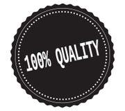 Testo 100%-QUALITY, sul bollo nero dell'autoadesivo Fotografia Stock