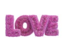 Testo rosa lanuginoso sveglio circa amore 3d illustrazione vettoriale
