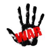 Testo rosso di guerra sulla stampa della mano nera Fotografie Stock Libere da Diritti