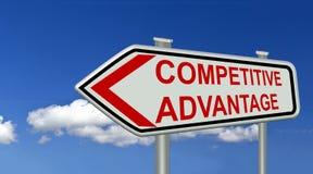 Testo rosso di simbolo del segno di vantaggio competitivo - rappresentazione 3d Immagini Stock