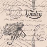 Testo sbiadito, bolli, Big Ben, segnante Londra con lettere, acropoli disegnata a mano di Atene, segnante Atene con lettere, mode Royalty Illustrazione gratis