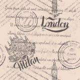 Testo sbiadito, bolli, Big Ben, segnante Londra con lettere, Milan Cathedral disegnato a mano, segnante Milano con lettere, model Illustrazione di Stock