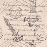 Testo sbiadito, bolli, Cristo il redentore, Big Ben, segnante Londra con lettere, modello senza cuciture Illustrazione di Stock