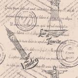 Testo sbiadito, bolli, Cristo il redentore, Big Ben, segnante Londra con lettere, modello senza cuciture Fotografie Stock