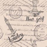 Testo sbiadito, bolli e la statua della libertà con l'iscrizione di New York con lettere, Big Ben, segnante Londra con lettere, m Illustrazione di Stock
