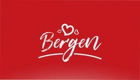testo scritto della mano bianca della città di Bergen con il logo del cuore su fondo rosso illustrazione vettoriale