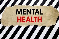 Testo scritto a mano che mostra la salute mentale Scrittura di concetto di affari per il disordine di malattia di ansia scritto s fotografie stock