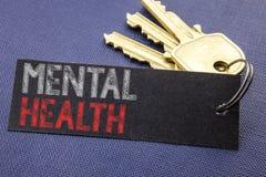 Testo scritto a mano che mostra la salute mentale La scrittura di concetto di affari per il disordine di malattia di ansia scritt immagini stock