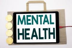 Testo scritto a mano che mostra la salute mentale Scrittura di concetto di affari per il disordine di malattia di ansia scritto s fotografie stock libere da diritti