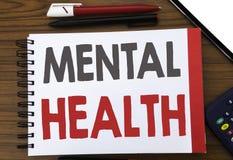 Testo scritto a mano che mostra la salute mentale Scrittura di concetto di affari per il disordine di malattia di ansia scritto s immagini stock libere da diritti