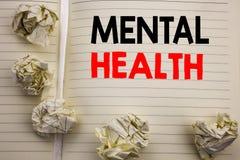 Testo scritto a mano che mostra la salute mentale Scrittura di concetto di affari per il disordine di malattia di ansia scritto s fotografia stock libera da diritti