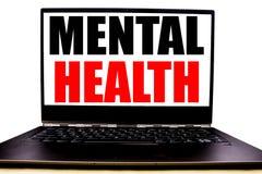 Testo scritto a mano che mostra la salute mentale Scrittura di concetto di affari per il disordine di malattia di ansia scritto s immagini stock