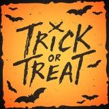 Testo scritto a mano di scherzetto o dolcetto, illustrazione di Halloween Fotografie Stock