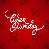 Testo scritto a mano di vendita cyber di lunedì su fondo rosso Illustrazione di vettore Illustrazione di Stock