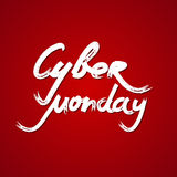 Testo scritto a mano di vendita cyber di lunedì su fondo rosso Illustrazione di vettore Immagine Stock Libera da Diritti