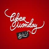 Testo scritto a mano di vendita cyber di lunedì su fondo rosso Illustrazione di vettore Fotografia Stock