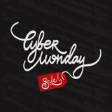 Testo scritto a mano di vendita cyber di lunedì sulla lavagna nera Illustrazione di vettore Immagine Stock
