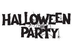 Testo scritto a mano e ragnatela del partito di Halloween disegnati a mano royalty illustrazione gratis