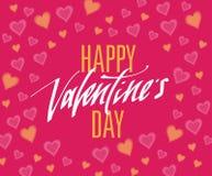 Testo scritto a mano felice di giorno di biglietti di S. Valentino per l'invito, aletta di filatoio, cartolina d'auguri Fotografie Stock