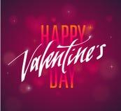 Testo scritto a mano felice di giorno di biglietti di S. Valentino per l'invito, aletta di filatoio, cartolina d'auguri Immagini Stock