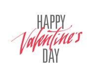 Testo scritto a mano felice di giorno di biglietti di S. Valentino per l'invito, aletta di filatoio, cartolina d'auguri Fotografia Stock