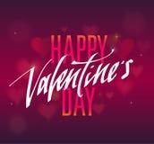 Testo scritto a mano felice di giorno di biglietti di S. Valentino per l'invito, aletta di filatoio, cartolina d'auguri Immagine Stock Libera da Diritti