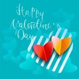 Testo scritto a mano felice di giorno di biglietti di S. Valentino su fondo vago Illustrazione EPS10 di vettore Fotografie Stock