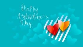 Testo scritto a mano felice di giorno di biglietti di S. Valentino su fondo vago Illustrazione EPS10 di vettore Fotografia Stock