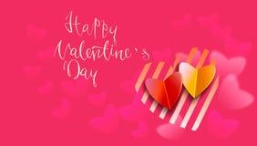 Testo scritto a mano felice di giorno di biglietti di S. Valentino su fondo vago Illustrazione EPS10 di vettore Fotografia Stock Libera da Diritti