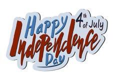 Testo scritto a mano per la festa dell'indipendenza di festa del unito immediatamente Immagine Stock Libera da Diritti
