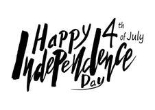 Testo scritto a mano per la festa dell'indipendenza di festa del unito immediatamente Fotografia Stock