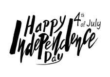 Testo scritto a mano per la festa dell'indipendenza di festa del unito immediatamente Fotografie Stock