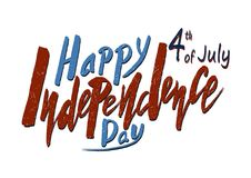 Testo scritto a mano per la festa dell'indipendenza di festa del unito immediatamente Fotografie Stock Libere da Diritti