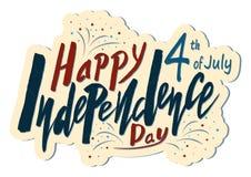 Testo scritto a mano per la festa dell'indipendenza di festa del unito immediatamente Immagine Stock