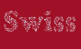 Testo svizzero nel rosso con le icone della Svizzera nel fondo rosso Fotografia Stock Libera da Diritti
