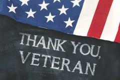 Testo Thank voi, veterano sulla lavagna Immagini Stock