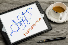 Testosterone chemical structure formula on touch screen Stock Photography