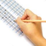 Testpoäng för svarsark med blyertspennan Royaltyfria Bilder