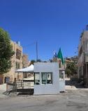 Testpunkt nära grottan av patriarker, Hebron Royaltyfri Foto