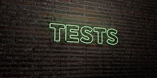 TESTS -Realistic Neon Sign on Brick Wall background - 3D rendered royalty free stock image. Can be used for online banner ads and direct mailers Royalty Free Stock Photo