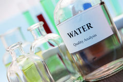 Tests for Research of water. In laboratory royalty free stock photos