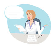 Tests results - Medical concept. Confused Female doctor holding about tests results talking to patient Royalty Free Stock Images