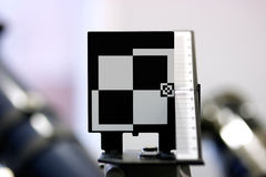 Testseite für die Prüfung des Kameraobjektivs Stockfoto