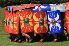 Testudo. The tortoise or testudo formation created with shields and adopted as a means of defence by roman troops stock photo